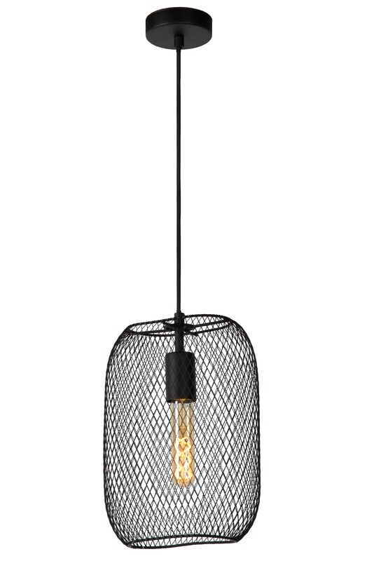 MESH Pendant E27 rectangular Black