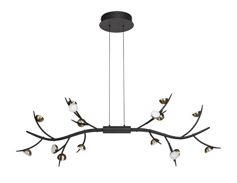 Zephyr 16 Light Linear Pendant, 16 x 3W LED, 3000K, 2640lm, Black/Antique Brass
