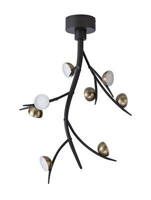 Zephyr 8 Light Ceiling Pendant, 8 x 3W LED, 3000K, 1320lm, Black/Antique Brass