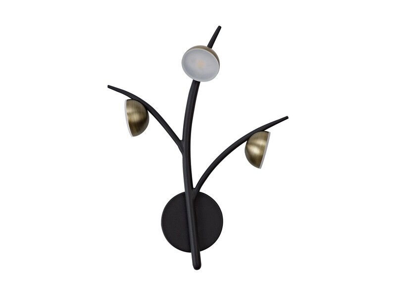 Zephyr 3 Light Wall Lamp, 3 x 3W LED, 3000K, 495lm, Black/Antique Brass