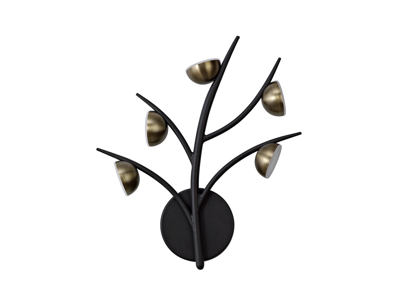 Zephyr 5 Light Wall Lamp, 5 x 3W LED, 3000K, 825lm, Black/Antique Brass