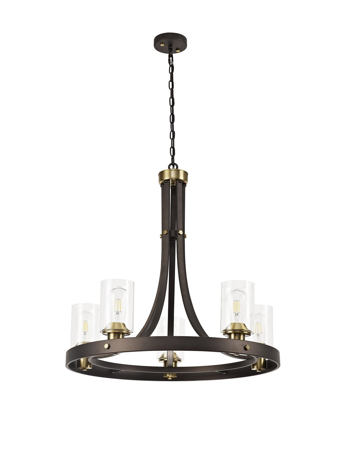 Marini Pendant 5 Light E27, Brown Oxide/Bronze With Clear Glass Shades