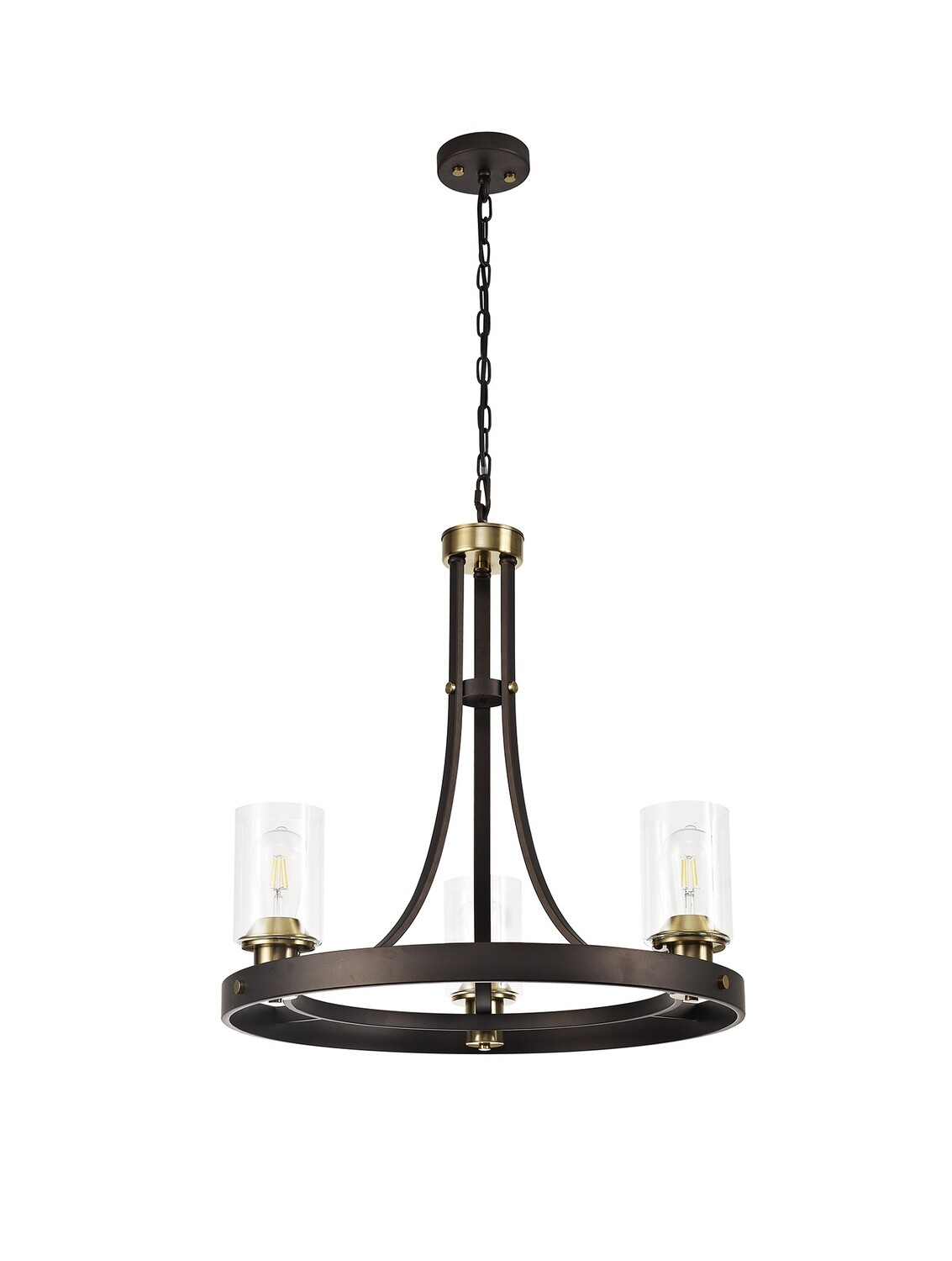Marini Pendant 3 Light E27, Brown Oxide/Bronze With Clear Glass Shades
