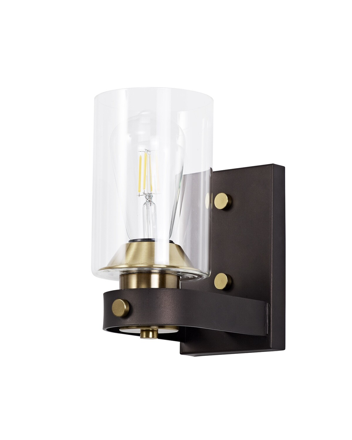 Marini Wall Lamp 1 Light E27, Brown Oxide/Bronze With Clear Glass Shades