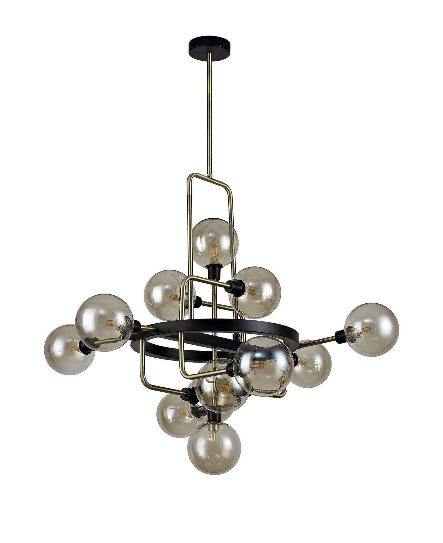 Avellana Fixed Pendant, 12 Light G9, Matt Black/Antique Brass/Cognac Glass