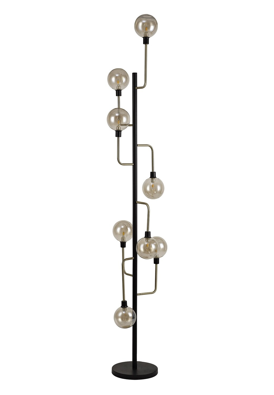 Avellana Floor Lamp, 8 Light G9, Matt Black/Antique Brass/Cognac Glass