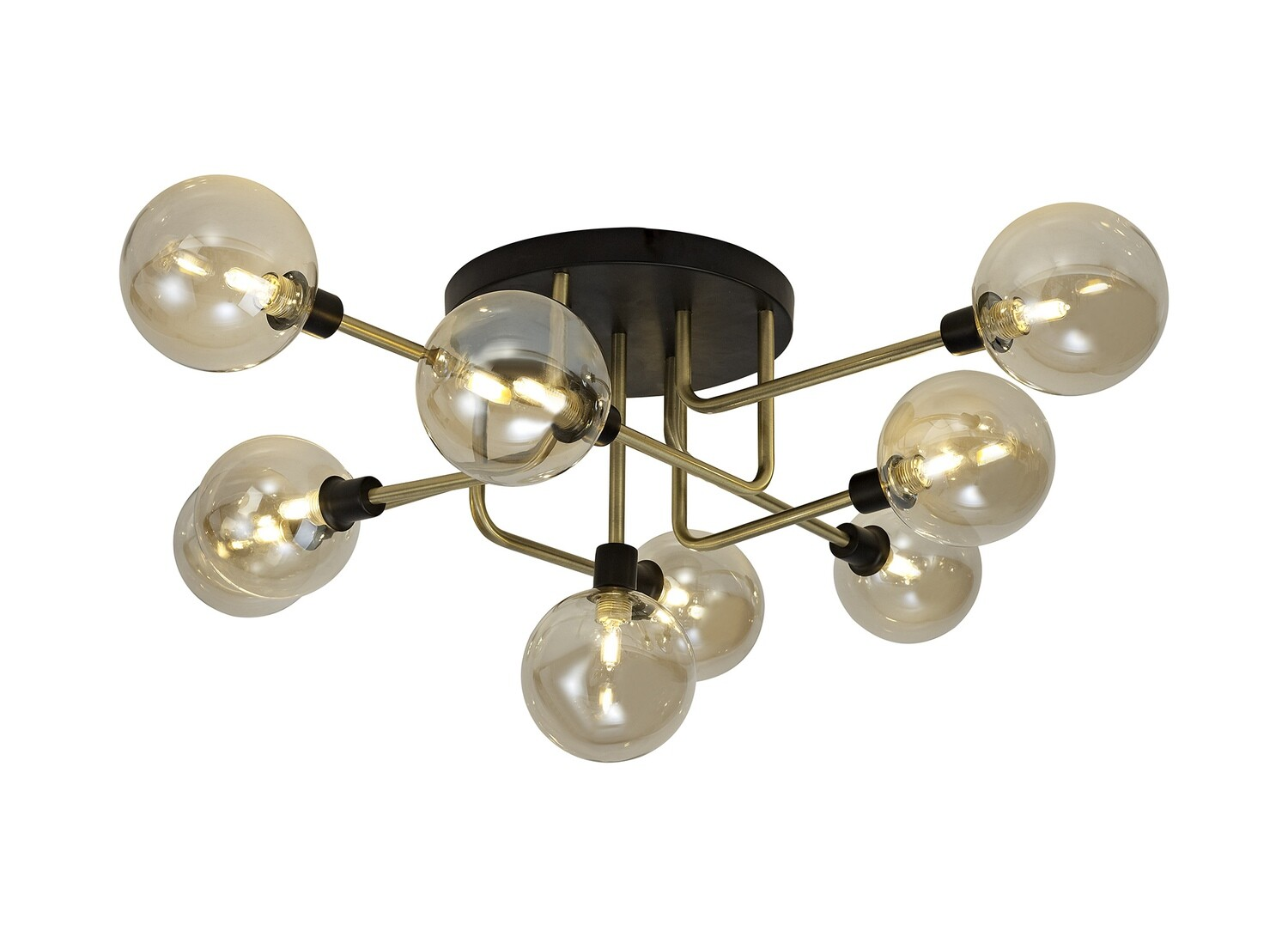 Avellana Flush Ceiling, 9 Light G9, Matt Black/Antique Brass/Cognac Glass