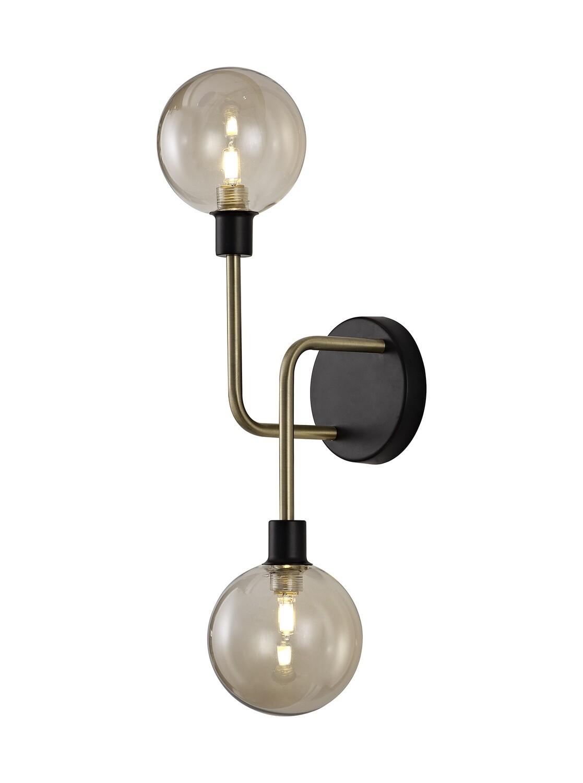 Avellana Wall Lamp, 2 Light G9, Matt Black/Antique Brass/Cognac Glass