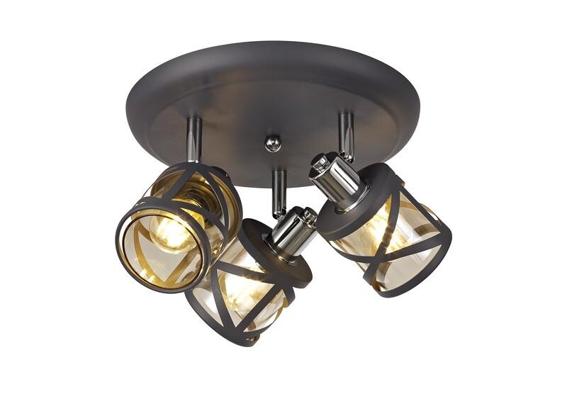 Bunji 3 Light Round Spotlight E14, Matt Grey/Polished Chrome/Cognac