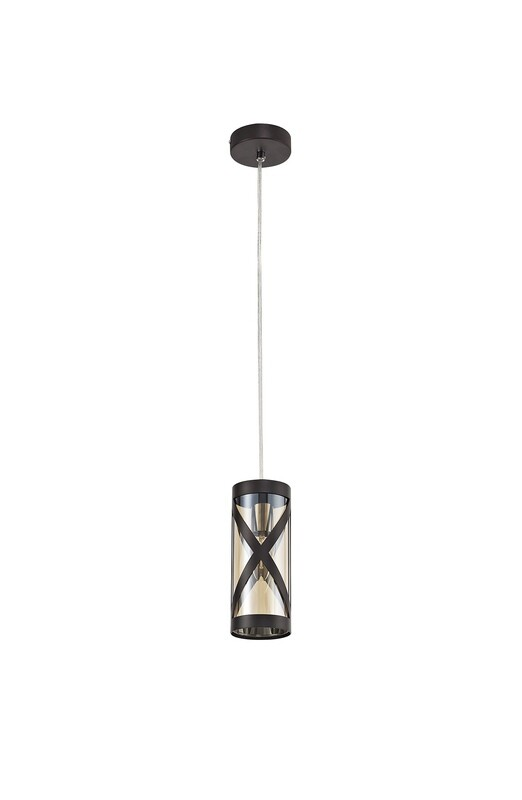 Bunji 1 Light Pendant E14, Oiled Bronze/Polished Chrome/Amber