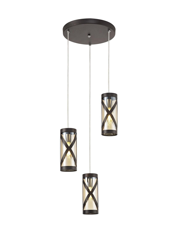 Bunji 3 Light Round Pendant E14, Oiled Bronze/Polished Chrome/Amber