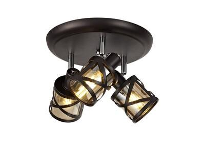 Bunji 3 Light Round Spotlight E14, Oiled Bronze/Polished Chrome/Amber