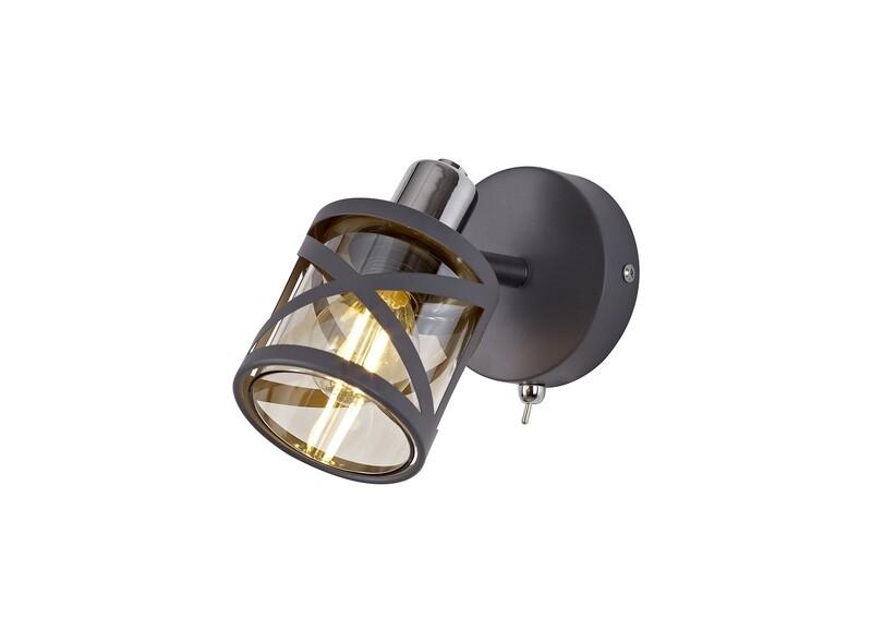 Bunji 1 Light Spotlight E14, Matt Grey/Polished Chrome/Cognac