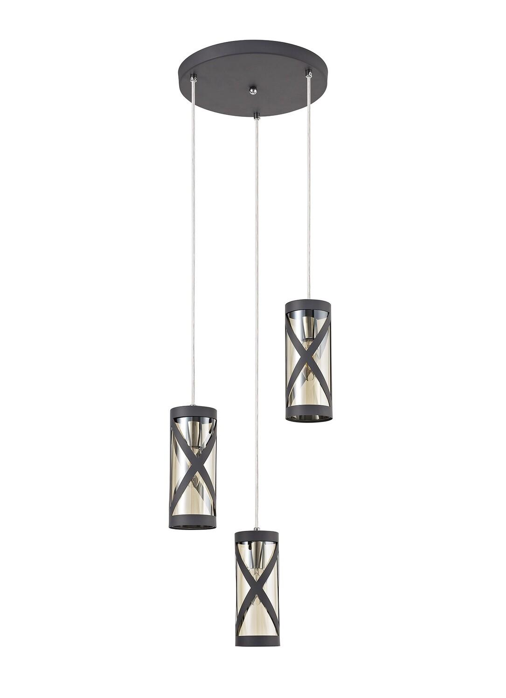 Bunji 3 Light Round Pendant E14, Matt Grey/Polished Chrome/Cognac