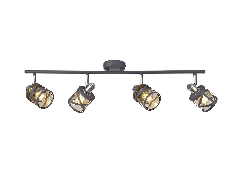 Bunji 4 Linear Bar Light Spotlight E14, Matt Grey/Polished Chrome/Cognac