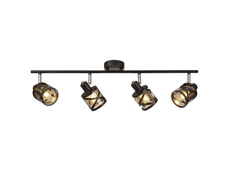 Bunji 4 Linear Bar Light Spotlight E14, Oiled Bronze/Polished Chrome/Amber