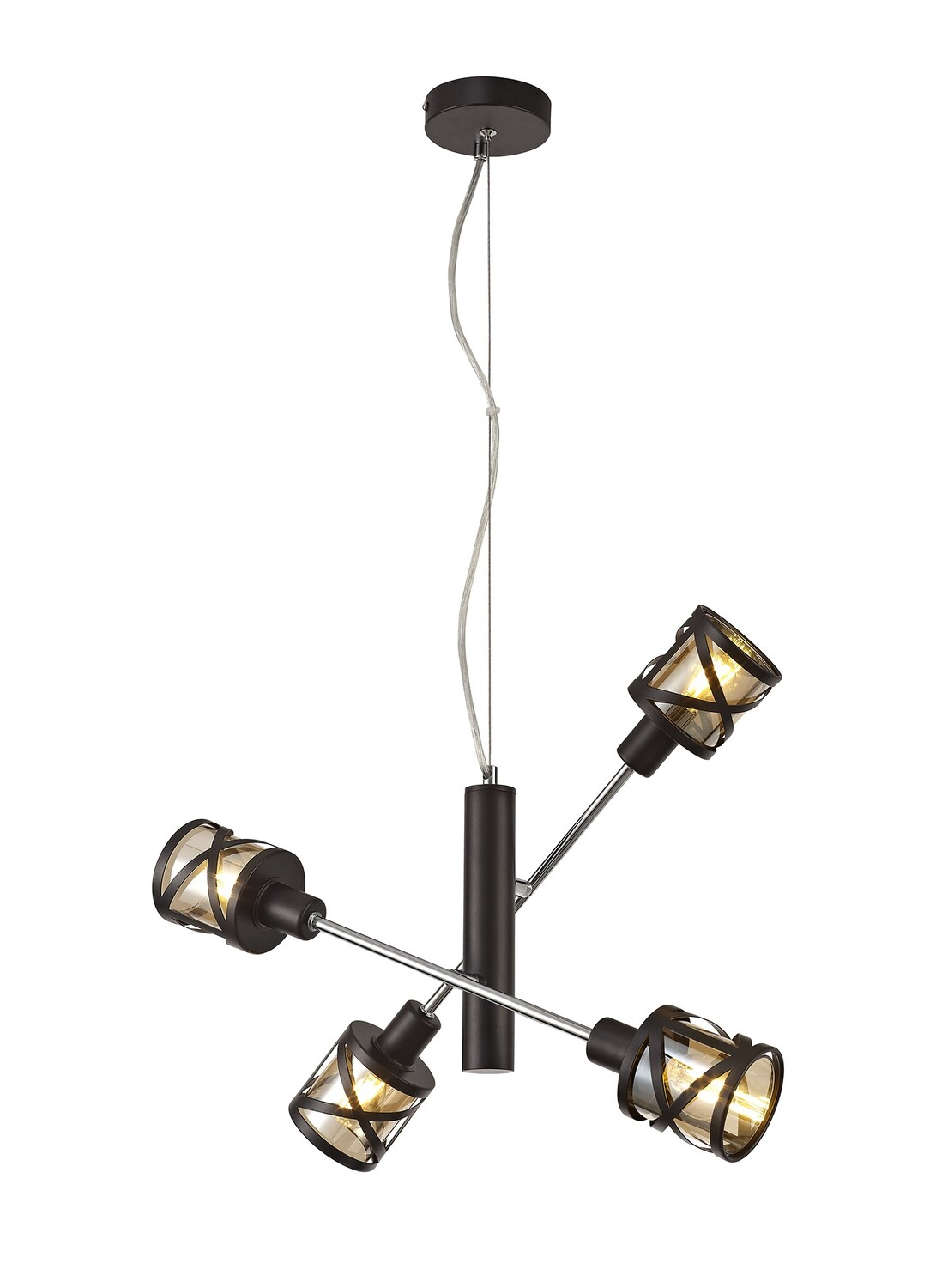 Bunji 4 Light Adjustable Pendant E14, Oiled Bronze/Polished Chrome/Amberc