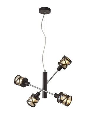 Bunji 4 Light Adjustable Pendant E14, Oiled Bronze/Polished Chrome/Amberc