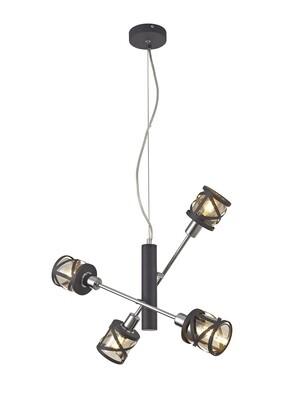 Bunji 4 Light Adjustable Pendant E14, Matt Grey/Polished Chrome/Cognac