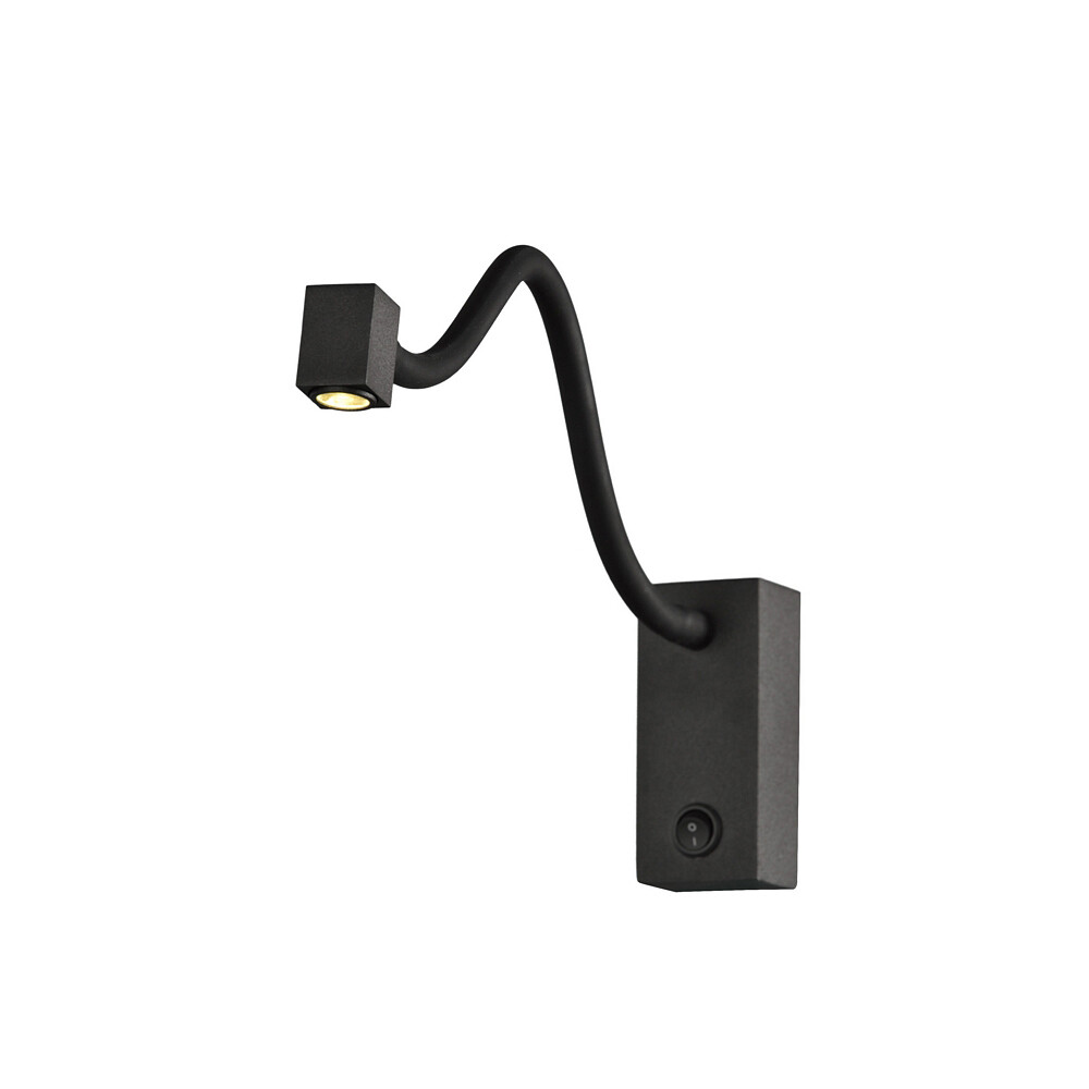 Boavista Wall Lamp / Reader 1L 3W LED Square Head Spot, 3000K, Round Base Matt Black