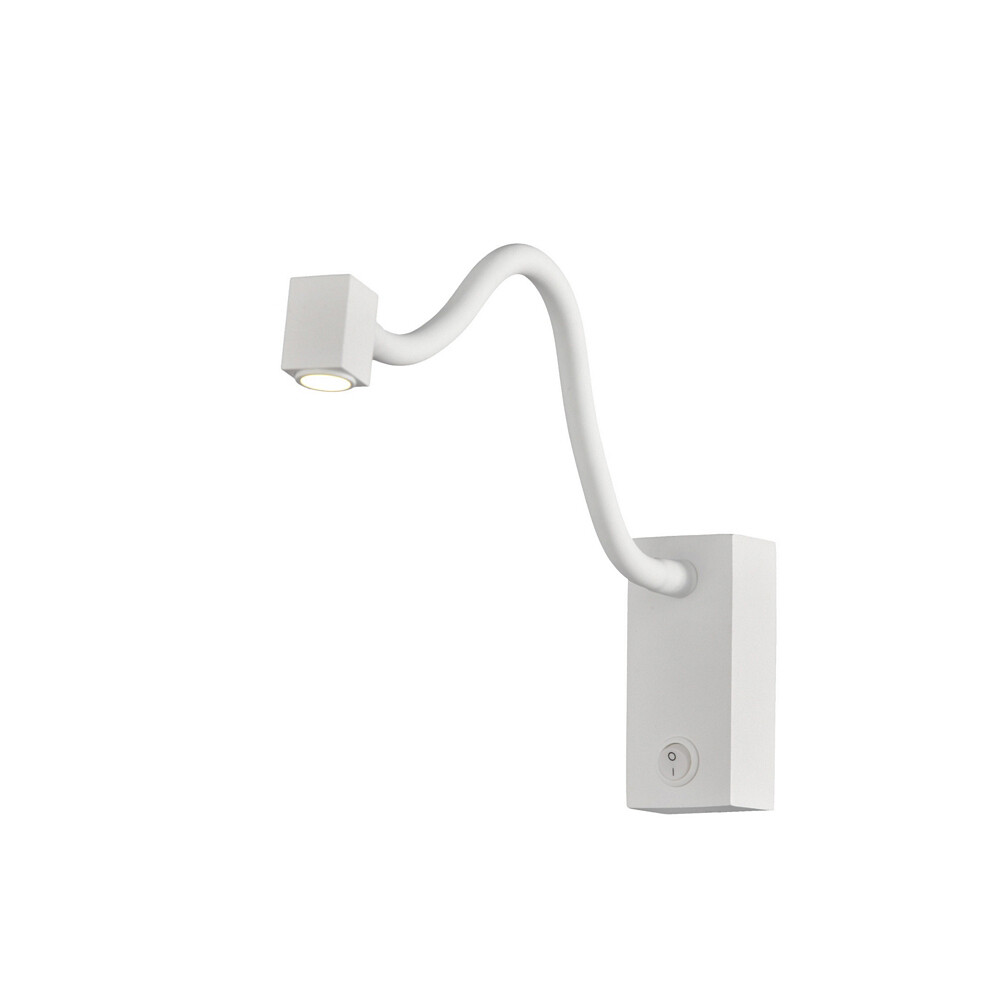 Boavista Wall Lamp / Reader 1L 3W LED Square Head Spot, 3000K, Round Base Matt white