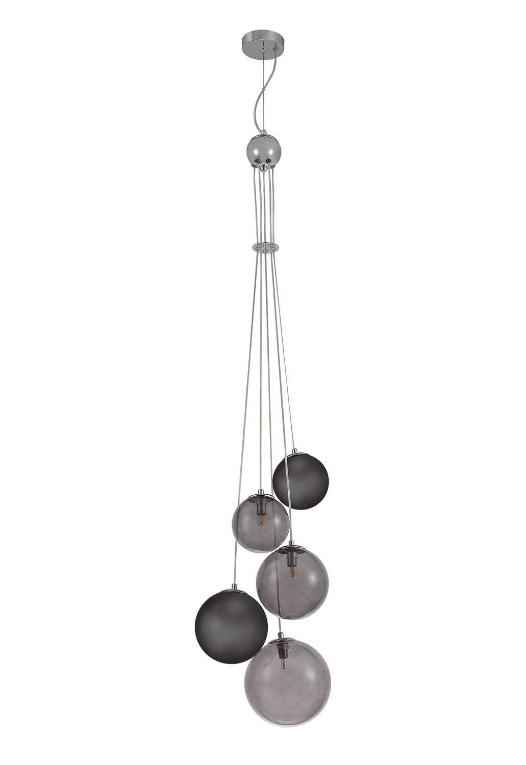 Despina Pendant 5 x G9, Polished Chrome, Smoked Glass