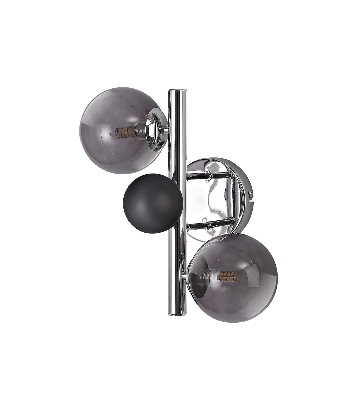 Despina Wall Lamp 2 x G9, Polished Chrome, Smoked Glass