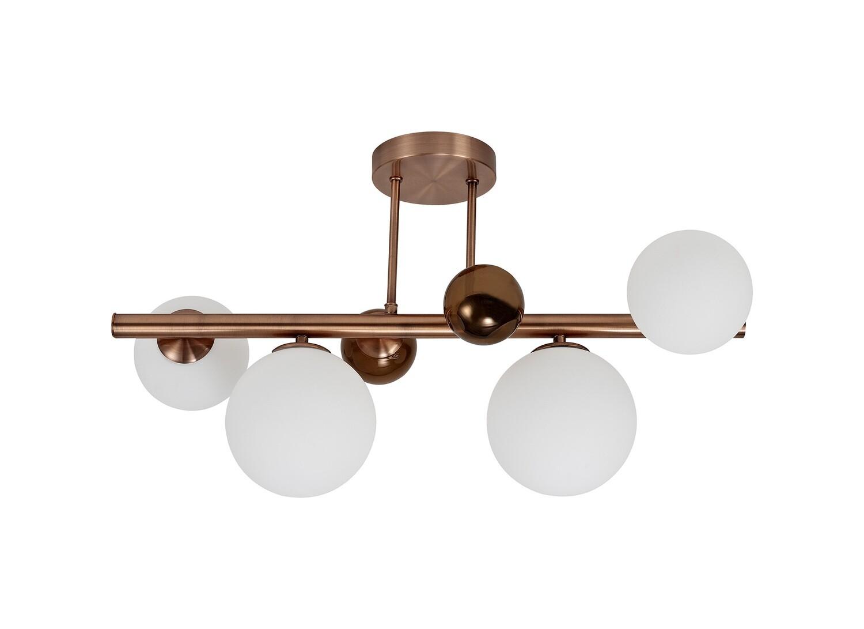 Despina Semi-Flush Ceiling Light, 4 x G9, Antique Copper/Opal & Copper