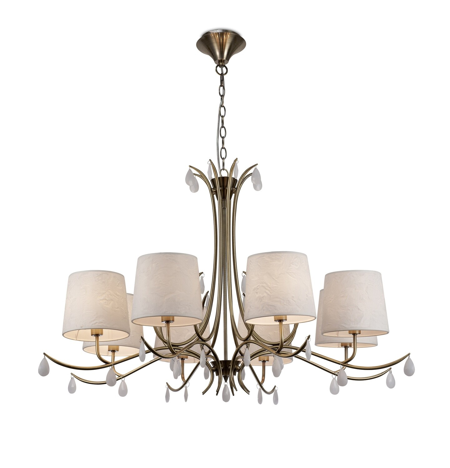 Andrea Pendant 100cm Round, 8 x E14 Antique Brass, White Shades, White Crystal Droplets
