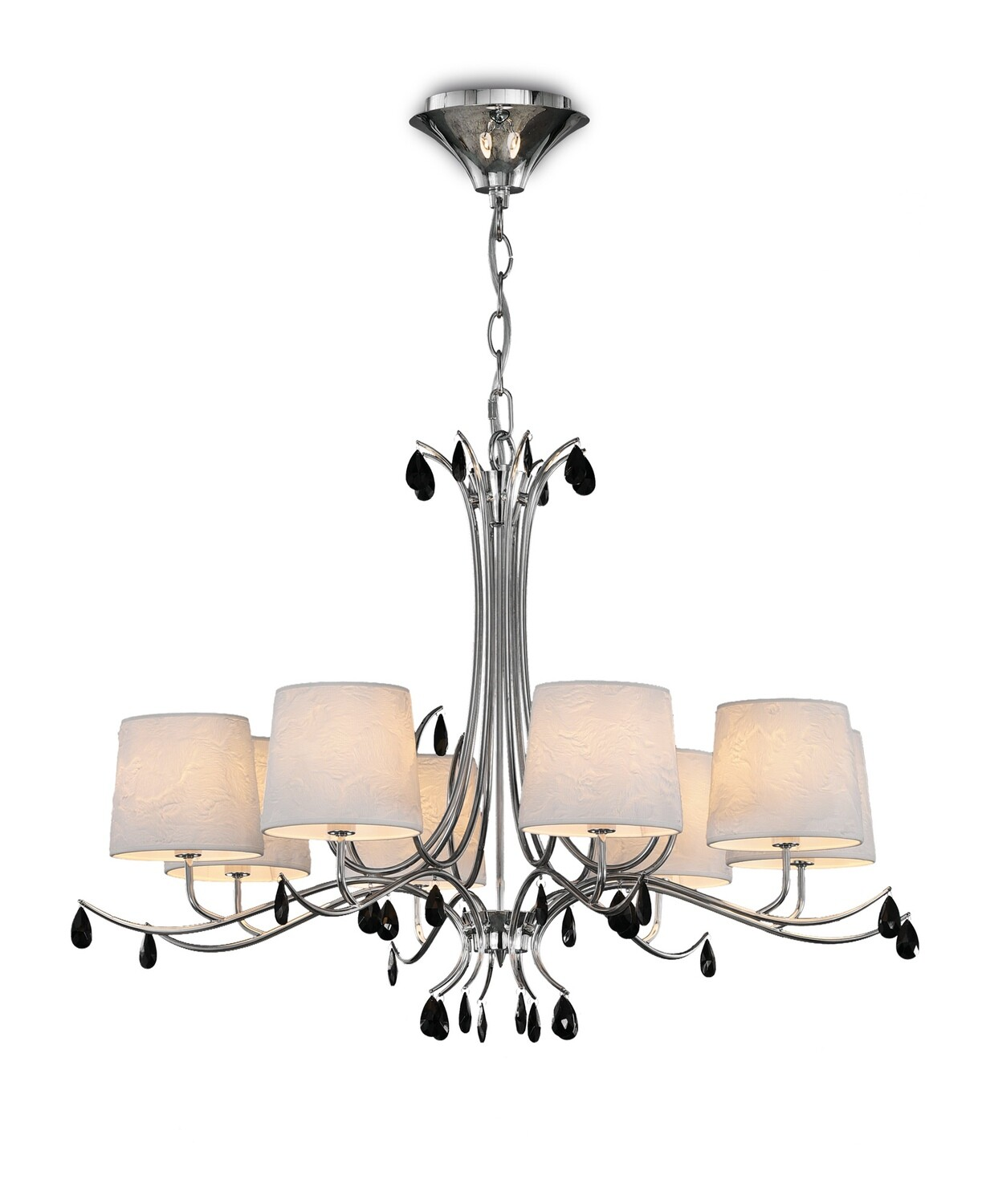 Andrea Pendant 100cm Round, 8 x E14 Polished Chrome, White Shades, Black Crystal Droplets