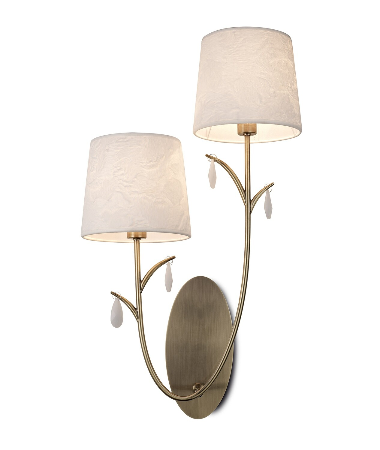 Andrea Wall Light, 2 x E14, Antique Brass, White Shades, White Crystal Droplets