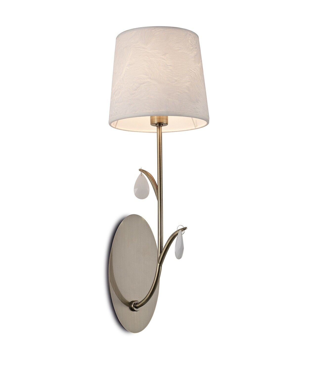 Andrea Wall Light, 1 x E14, Antique Brass, White Shades, White Crystal Droplets