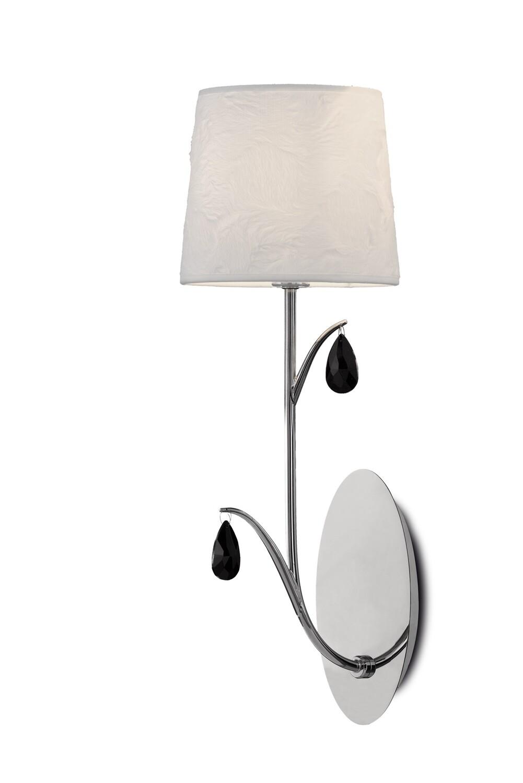 Andrea Wall Light, 1 x E14, Polished Chrome, White Shades, Black Crystal Droplets