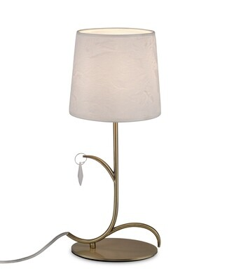 Andrea Table Lamp 45cm, 1 x E14, Antique Brass, White Shades, White Crystal Droplets