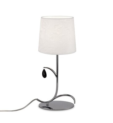 Andrea Table Lamp 45cm, 1 x E14, Polished Chrome, White Shades, Black Crystal Droplets