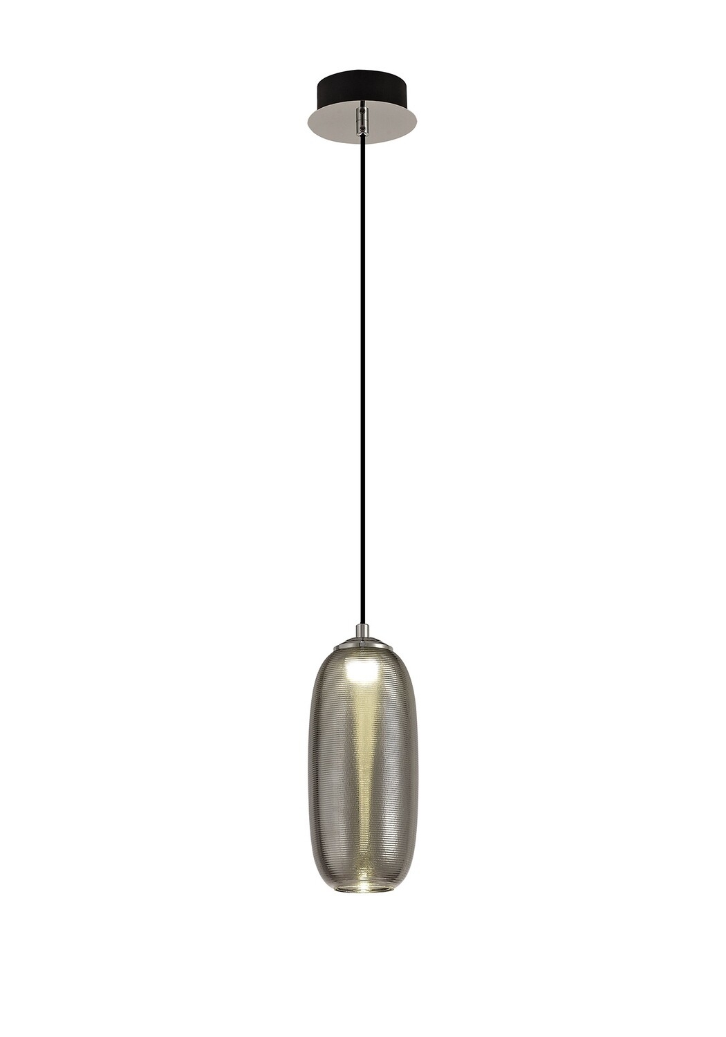 Lisa Pendant, 1 x 8W LED, 4000K, 720lm, Smoked/Black