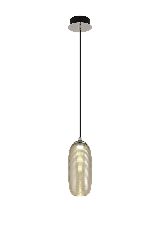 Lisa Pendant, 1 x 8W LED, 4000K, 720lm, Polished Chrome/Black/Champagne