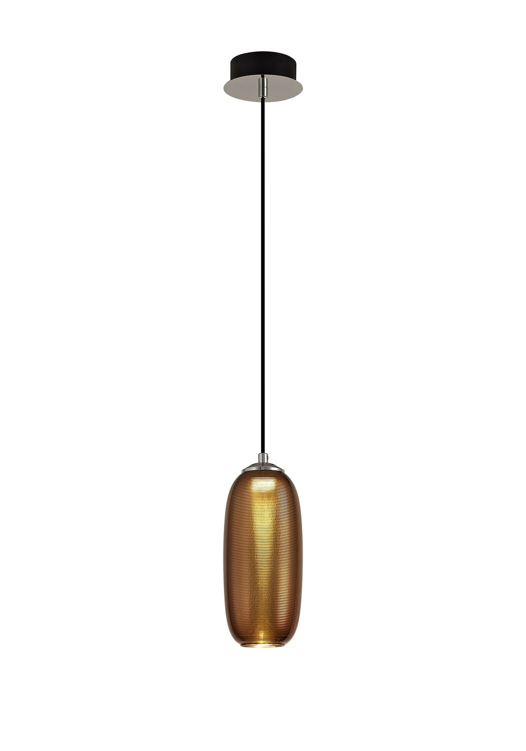 Lisa Pendant, 1 x 8W LED, 4000K, 720lm, Polished Chrome/Black/Copper