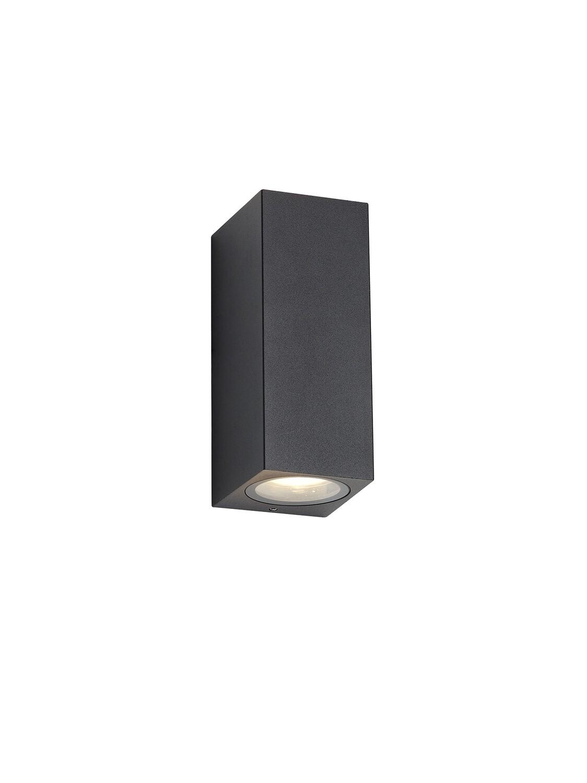 Tomar Rectangle Wall Lamp, 2 x GU10, IP54, Sand Black