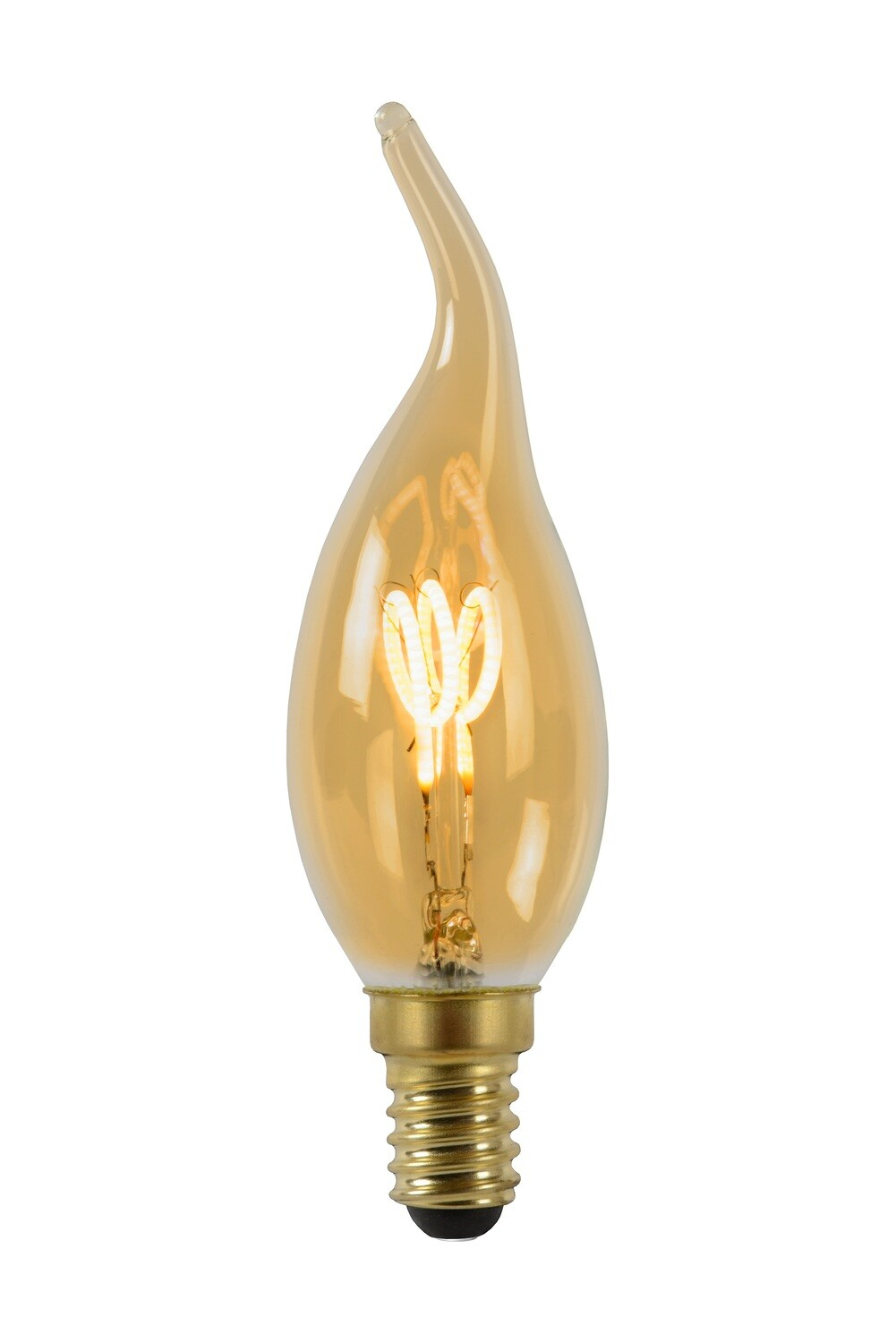 E14-LED filament-candletip 3 Watt 2200K  115lm Amber Finish DIMMABLE
