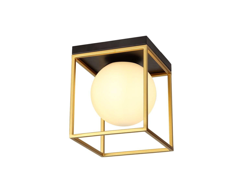 Citanti Square Ceiling Flush, 1 Light E14, Matt Black/Painted Gold