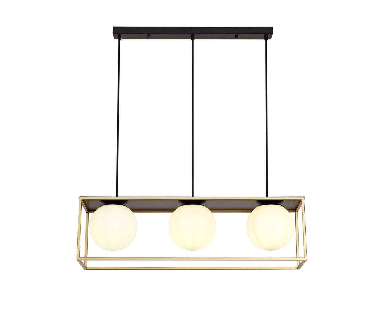 Citanti Linear Pendant, 3 Light Adjustable E14, Matt Black/Painted Gold