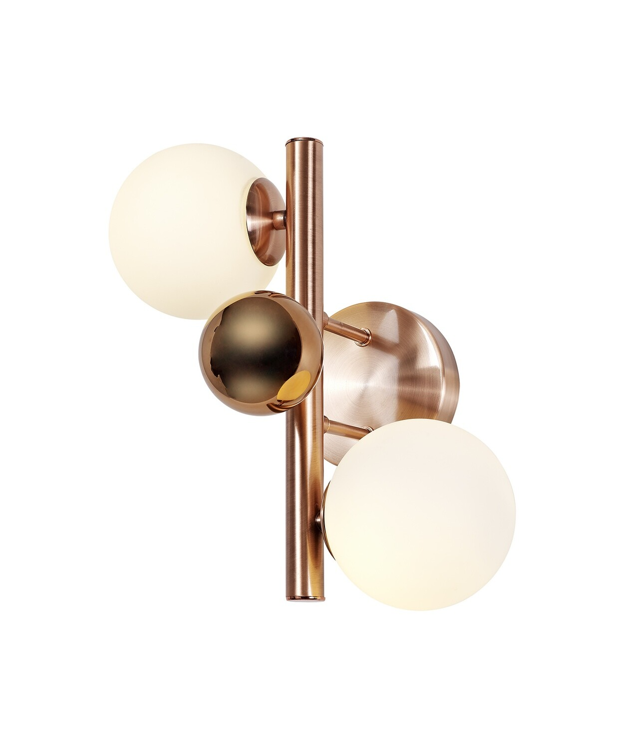 Despina Wall Lamp 2 x G9, Antique Copper/Opal & Copper Glass