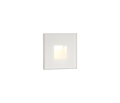 Slava Recessed Square Wall Lamp, 1 x 1.8W LED, 3000K, 70lm, IP65, White