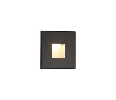 Slava Recessed Square Wall Lamp, 1 x 1.8W LED, 3000K, 70lm, IP65, Black