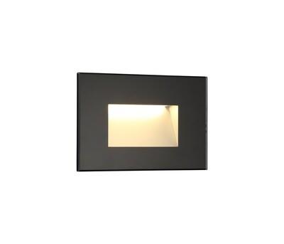 Slava Recessed Square Wall Lamp, 1 x 3.3 W LED, 3000K, 145lm, IP65, Black