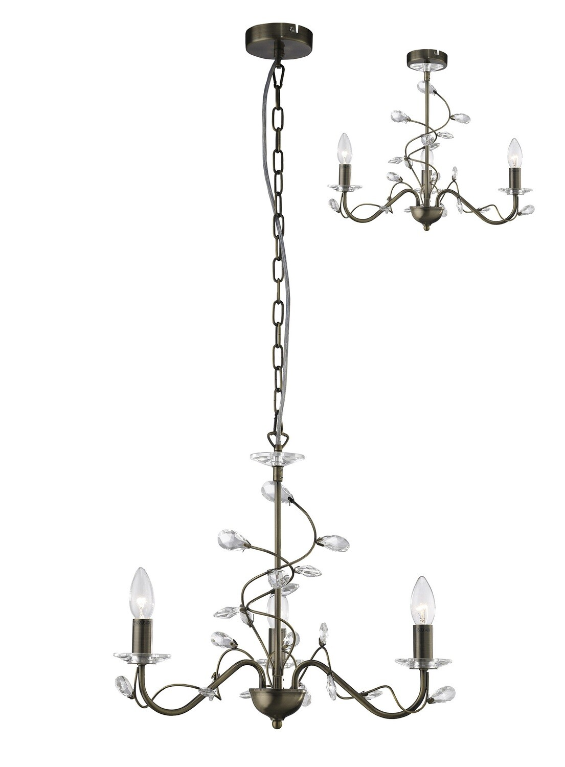 Willow Pendant WITHOUT SHADE 3 Light E14 Antique Brass/Crystal
