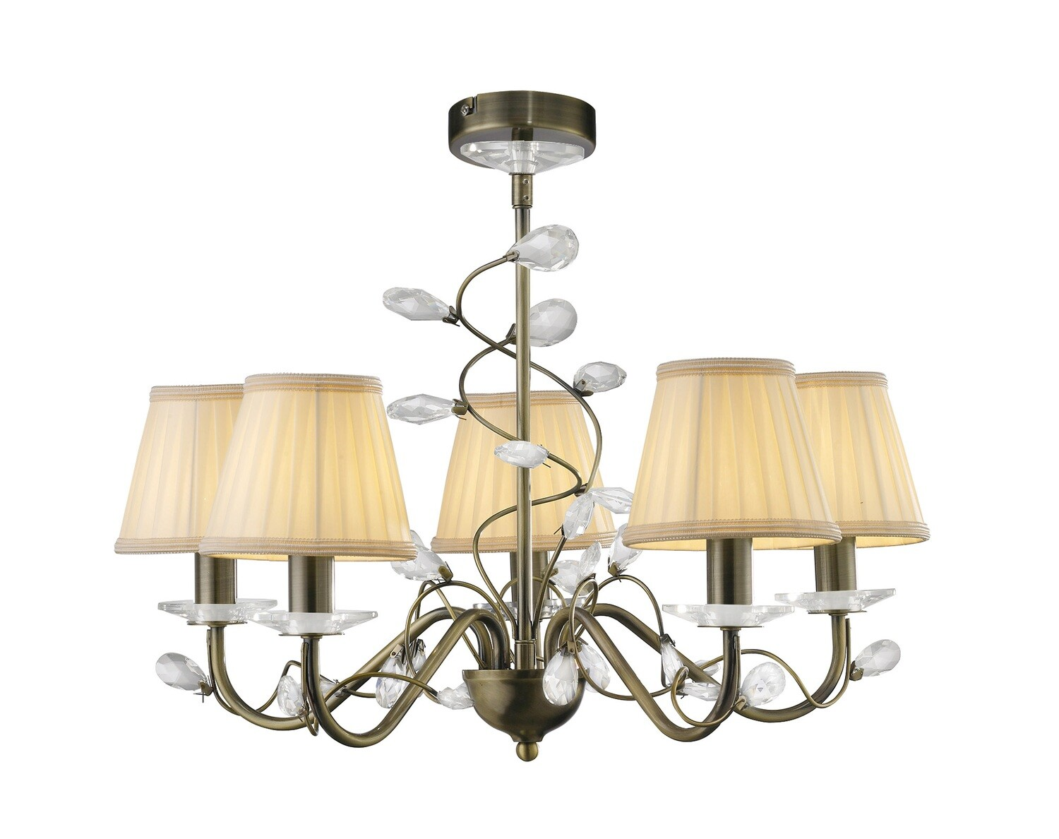 Willow Pendant WITH SHADE 5 Light E14 Antique Brass/Crystal