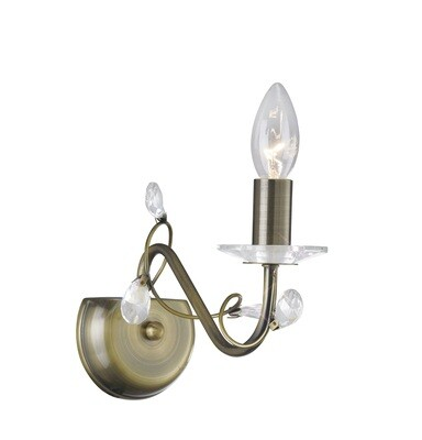 Willow Wall Lamp WITHOUT SHADE 1 Light E14 Antique Brass/Crystal