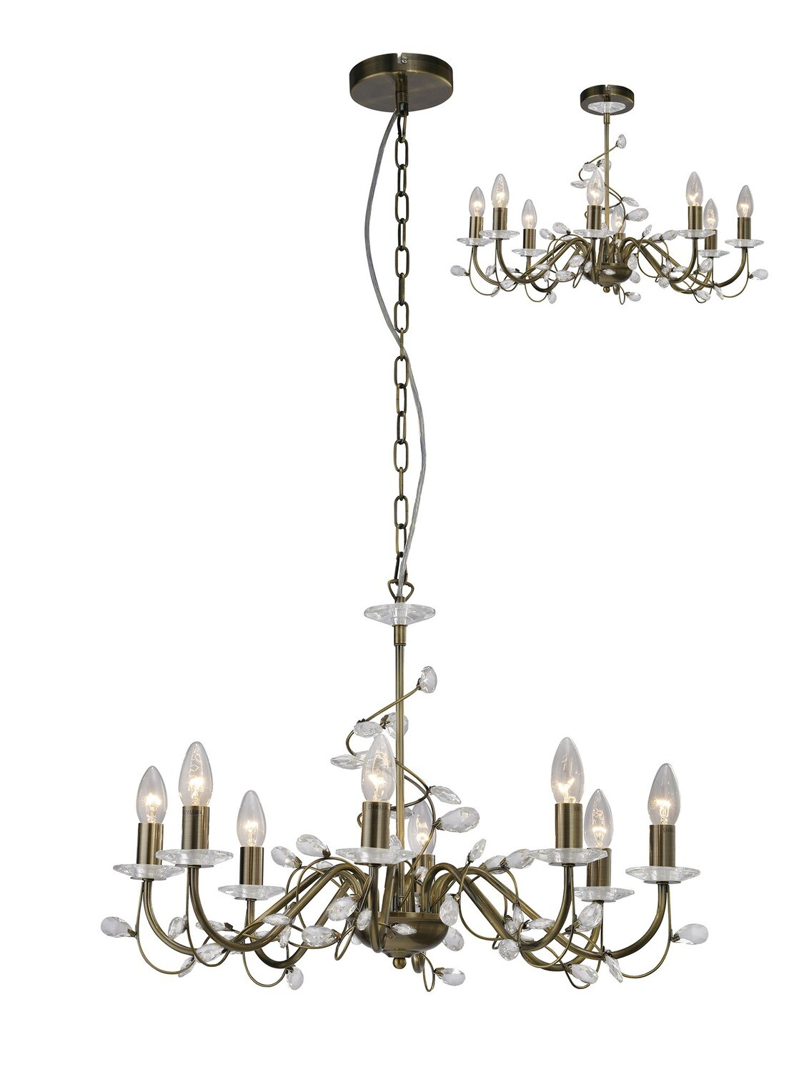 Willow Pendant WITHOUT SHADE 8 Light E14 Antique Brass/Crystal